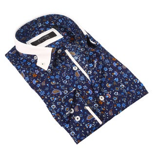 Coogi Luxe 100% Cotton Men's Floral Navy Patterned Dress Shirt