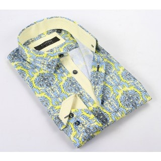 Coogi Luxe Men's Blue Sky/Yellow/White Patterned Dress Shirt