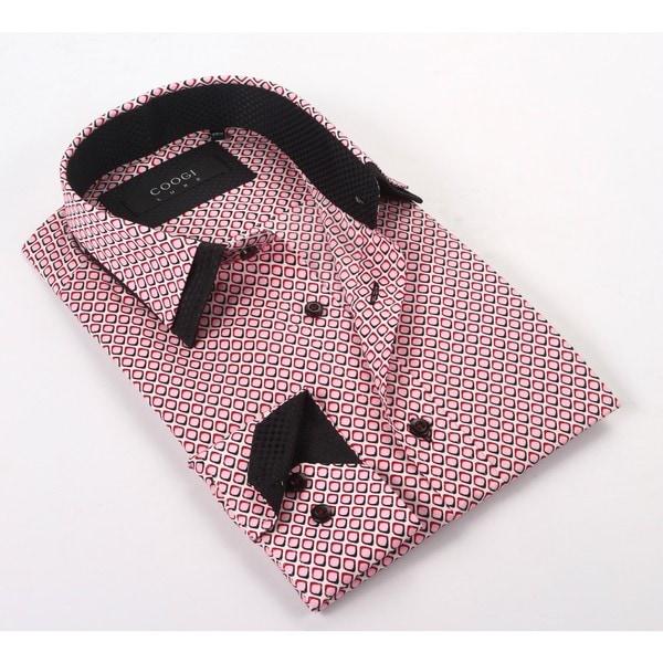 Coogi luxe 100 cotton men 39 s pink black patterned dress for Mens dark pink dress shirt