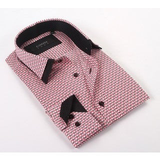 Coogi Luxe 100% Cotton Men's Pink/Black Patterned Dress Shirt