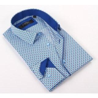 Coogi Luxe 100% Cotton Men's Light/Persian Blue Patterned Dress Shirt