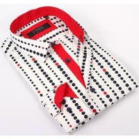 Coogi Luxe 100% Cotton Men's White/Red/Blue Polka Dots Dress Shirt