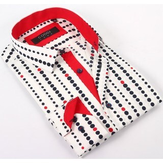 Coogi Luxe 100% Cotton Men's White/Red/Blue Polka Dots Dress Shirt (3 options available)