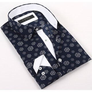 Coogi Luxe 100% Cotton Men's Oxford Blue/White Patterned Dress Shirt