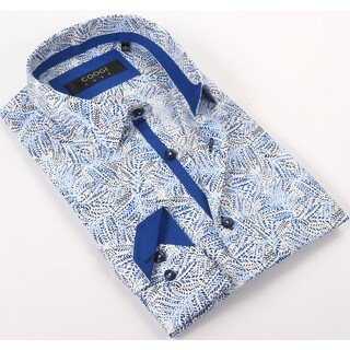 Coogi Luxe 100% Cotton Men's Catalina Blue/White Flowers Patterned Dress Shirt (4 options available)