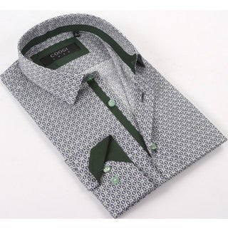 Coogi Luxe 100% Cotton Men's Blue/Green Patterned Dress Shirt