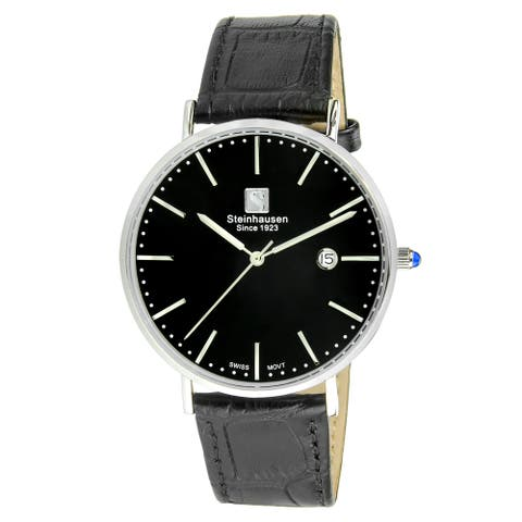 Steinhausen Men's S0519 Classic Burgdorf Swiss Quartz Stainless Steel Watch with Black Leather Band