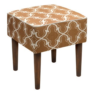 Brown Linen Upholstered Trellis Stool
