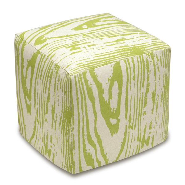 Faux Bois Linen Upholstered Cube Ottoman. Opens flyout.