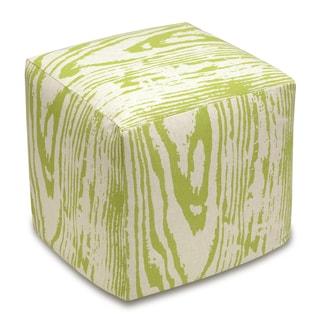 Faux Bois Linen Upholstered Cube Ottoman