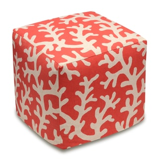 123 Creations Coral Linen Upholstered Cube Ottoman (Red)