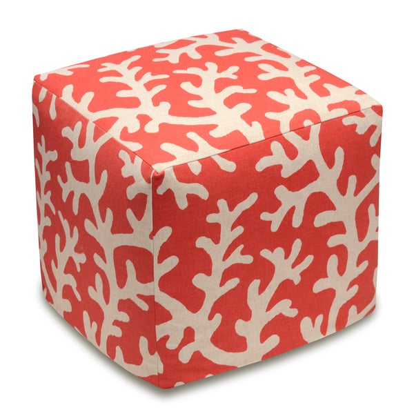 Coral Linen Upholstered Cube Ottoman. Opens flyout.