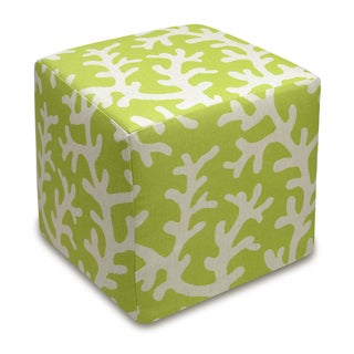 Coral Linen Upholstered Cube Ottoman (Green)