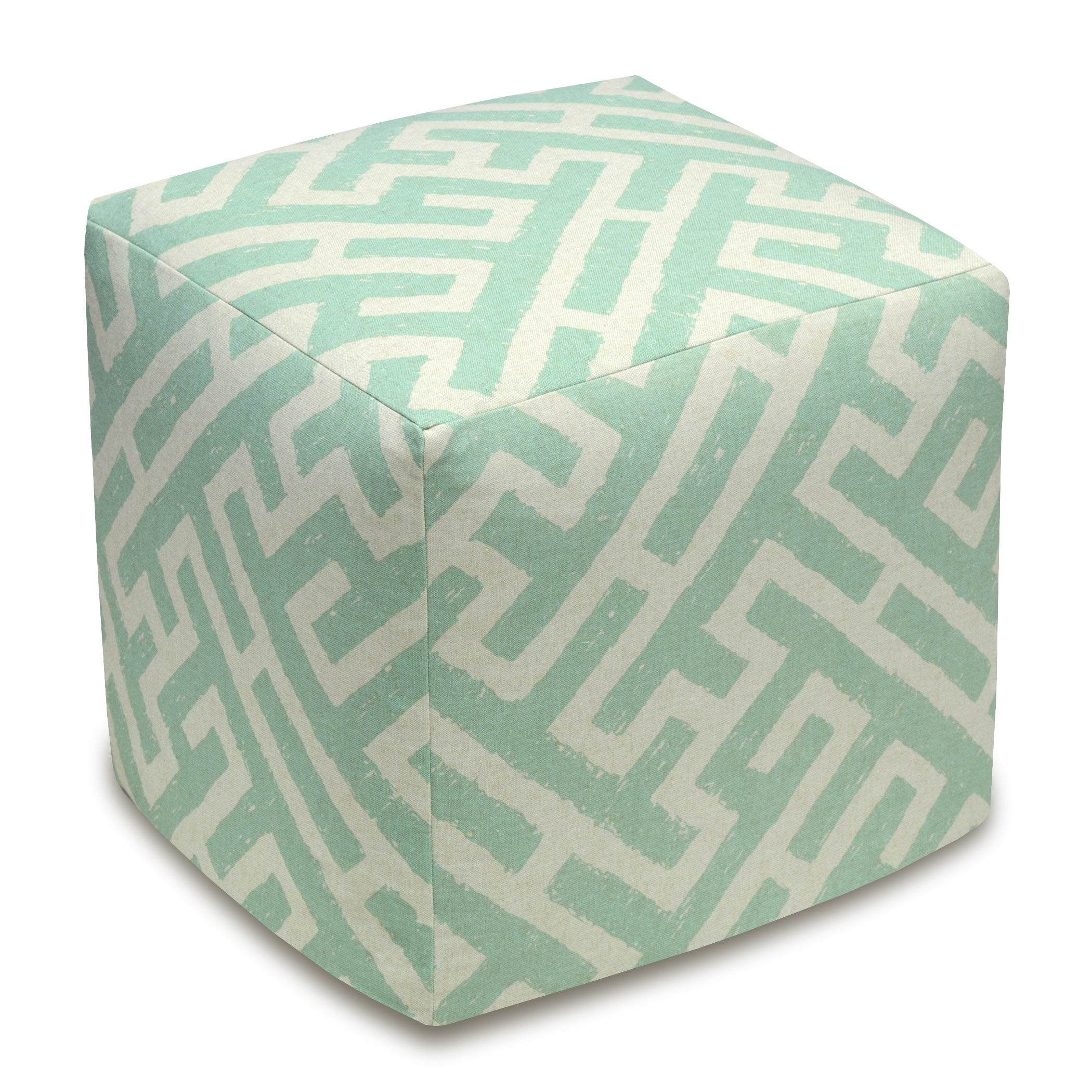 Lattice Linen Upholstered Cube Ottoman (Blue), Size Small...