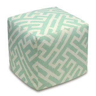 Lattice Linen Upholstered Cube Ottoman