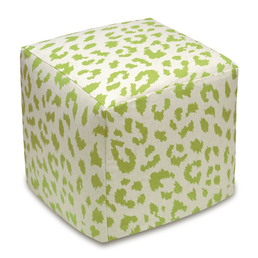 123 Creations Cheetah Upholstered Cube Ottoman (Orange)