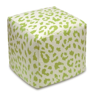 123 Creations Cheetah Upholstered Cube Ottoman (Green)
