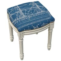 Ship Navy Blue and Antique-white-finished Wood, Foam, Linen, and Metal Nailhead Tall Vanity Stool