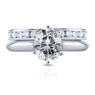 Annello by Kobelli 14k White Gold 1 1/2ct Oval Moissanite Solitaire and 1ct TDW Channel Diamond Band Bridal Set