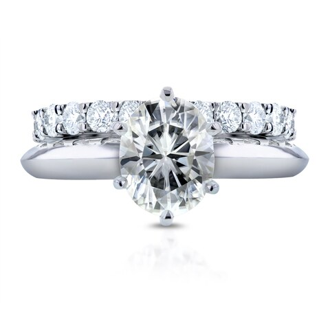 Annello by Kobelli 14k White Gold 1 1/2ct Oval Moissanite Solitaire and 1ct TDW Prong Diamond Band Bridal Set