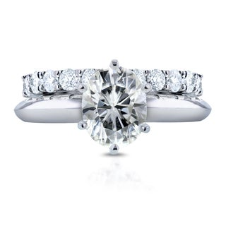 Annello by Kobelli 14k White Gold 1 1/2ct Oval Moissanite (HI) Solitaire and 1ct TDW Prong Diamond Band Bridal Set