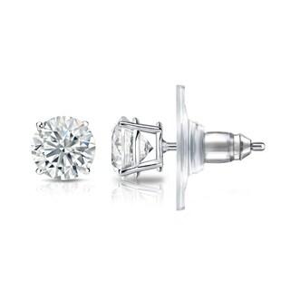Auriya GIA Certified 14k White Gold 4-Prong Basket 3.00 ct. TDW (E-F, VS1-VS2) Secure Lock Back Round Diamond Stud Earrings