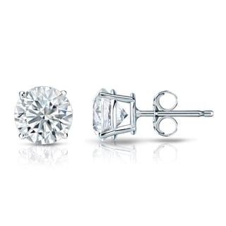 Auriya GIA Certified 14k White Gold 4-Prong Basket 1.00 ct. TDW (E-F, VVS1-VVS2) Push Back Round Diamond Stud Earrings