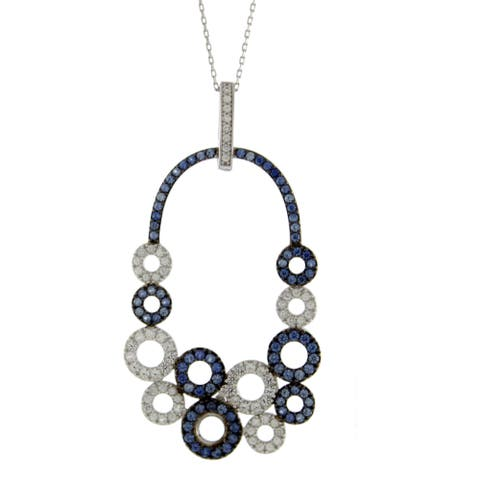 Suzy Levian Multi-Circle Sapphire and Diamond Pendant in Sterling Silver and 18K Gold
