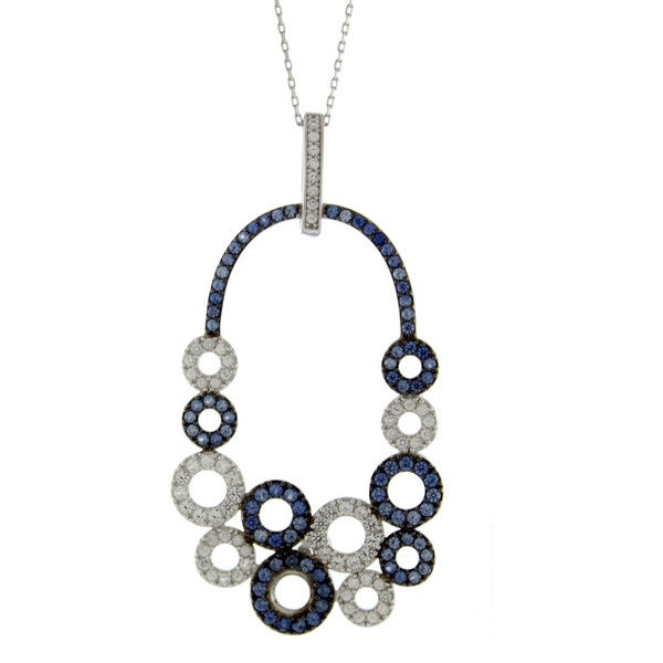 7a34406cd Shop Suzy Levian Multi-Circle Sapphire and Diamond Pendant in Sterling  Silver and 18K Gold - Free Shipping Today - Overstock - 13603335
