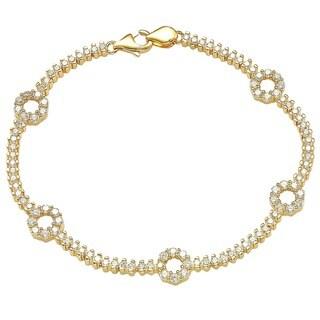 """Suzy Levian Pave Cubic Zirconia Golden Sterling Silver 7.25"""" Floral Tennis Bracelet"""