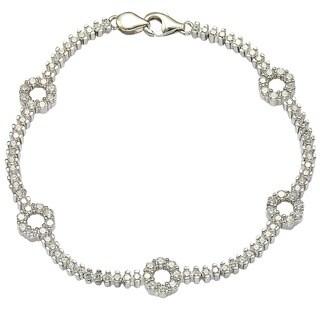 """Suzy Levian Pave Cubic Zirconia Sterling Silver 7.25"""" Floral Tennis Bracelet"""