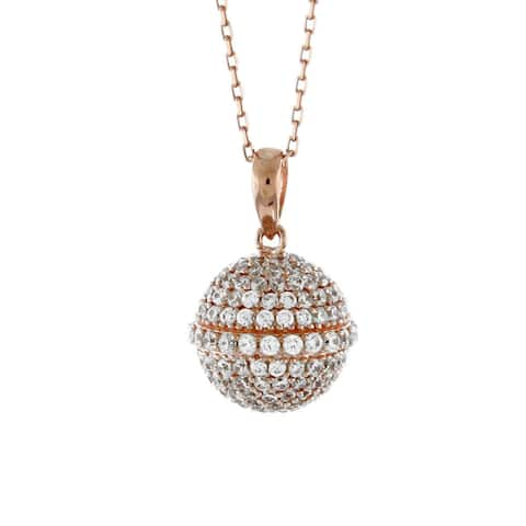 Suzy Levian Cubic Zirconia Rosed Sterling Silver Disco Ball Pendant - Pink