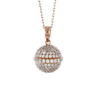 Suzy Levian Cubic Zirconia Rosed Sterling Silver Disco Ball Pendant