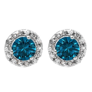 10k White Gold 1/3ct TW Round Blue and White Diamond Halo Stud Earrings