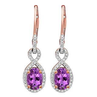 10k Rose Gold 1 5/8ct TW Oval Amethyst and Round Diamond Infinity Dangling Earrings (I-J, I2-I3)