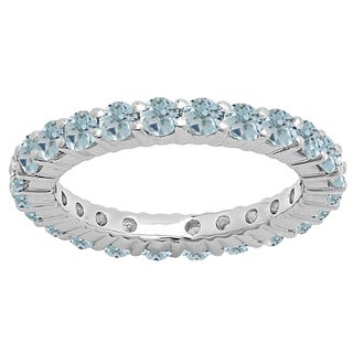 14k Gold 1ct TW Round Aquamarine Eternity Wedding Stackable Band
