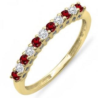 10k Gold 1/3ct TW Round Garnet and White Diamond Anniversary Stackable Wedding Band (I-J, I2-I3)