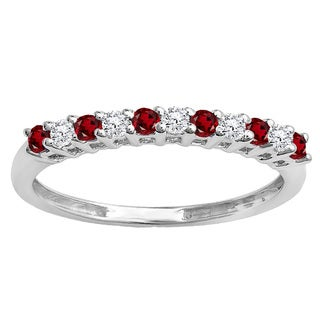 10k Gold 1/3ct TW Round Garnet and White Diamond Anniversary Stackable Wedding Band (I-J, I2-I3)