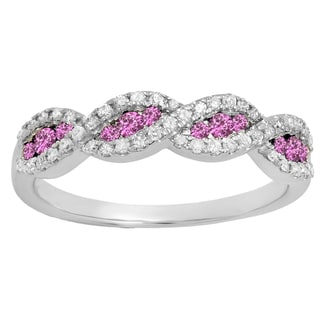 10k Gold 1/3ct TW Round Pink Sapphire and Diamond Stackable Wedding Band Swirl Ring (I-J, I2-I3 )