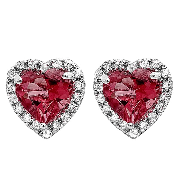 4ed99895e Shop 10k Gold 1/1/3ct TW Heart Rhodolite and White Diamond Halo Stud  Earrings (I-J, I2-I3) - Free Shipping Today - Overstock - 13610121