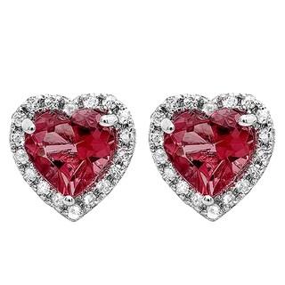 10k Gold 1/1/3ct TW Heart Rhodolite and White Diamond Halo Stud Earrings (I-J, I2-I3)