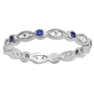 10k Gold 3/8ct TW Round Blue Sapphire and White Diamond Vintage Wedding Band Stackable Ring (J-K, I2-I3 )
