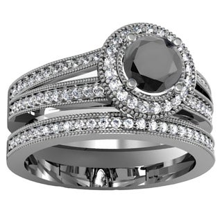 14k White Gold 1 1/4ct TW White and Black Diamond Halo Bridal Set (H-I, I1-I2)