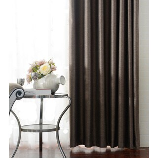Grey and Brown Polyester Blackout Thermal-insulated Grommet-top Window Curtain Panel