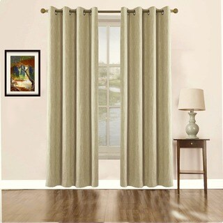 Solid Cotton and Polyester Thermally Insulated Grommet Blackout Window Curtain Panel