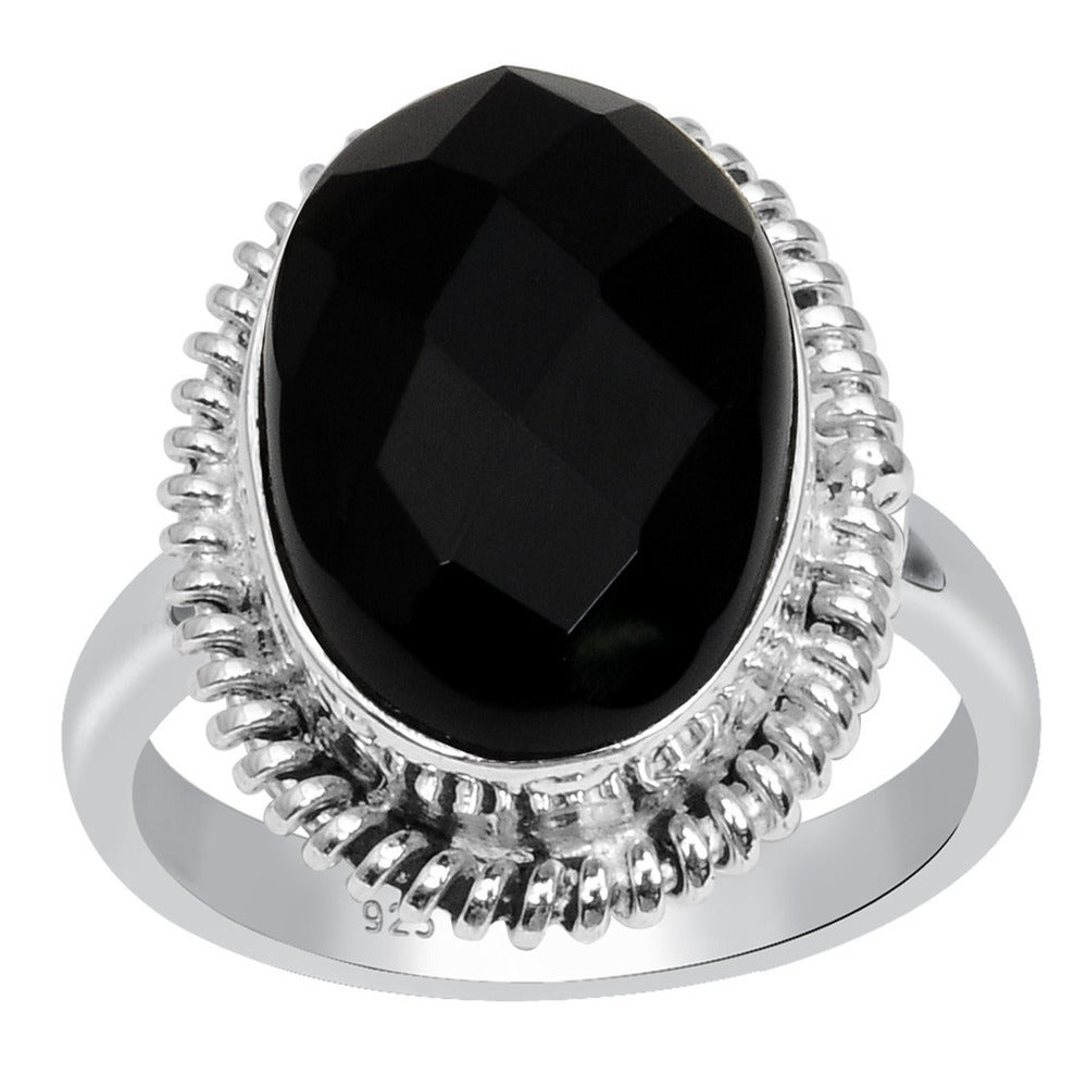 Jewels House Mid Night Black Onyx Oval Cut Gemstone Silver Plated Handmade Statement Ring US-9.5