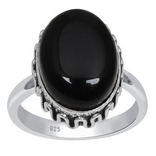 Orchid Jewelry 925 Sterling Silver 7 Carat Oval Cut Black Onyx Ring
