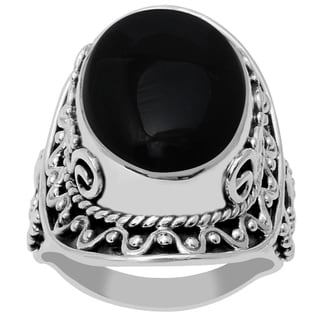 Orchid Jewelry 925 Sterling Silver 15 Carat Oval Cut Black Onyx Ring