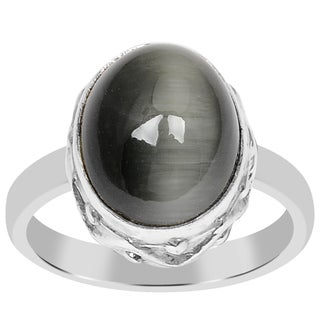Orchid Jewelry 925 Sterling Silver 4 1/5 Carat Oval Cut Cat's Eye Gemstone Ring