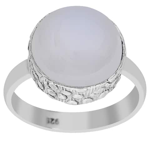 Chalcedony Sterling Silver Round Engagement Ring By Orchid Jewelry